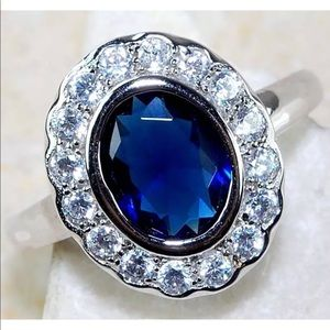 Jewelry - Blue Sapphire 3CT & White Topaz Ring